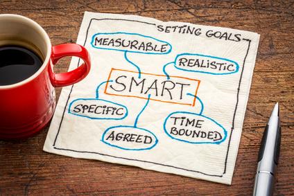 setting SMART goals concept on napkin