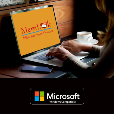 MemLok Windows Edition 2021. Person sitting at a desktop computer with Memlok logo displaying on the monitor.